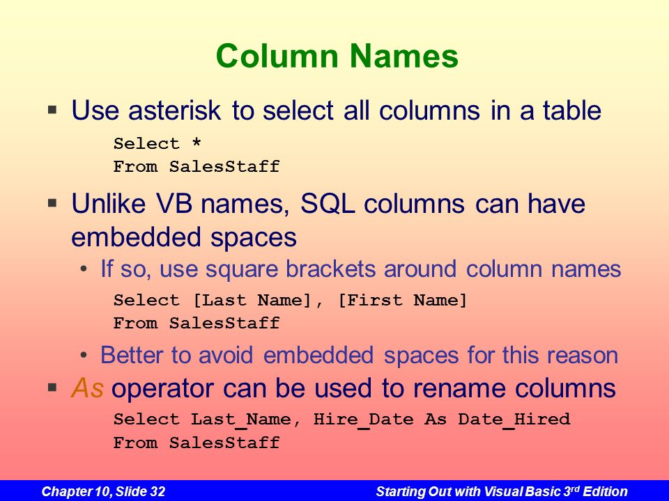 Chapter 10, Slide 32Starting Out with Visual Basic 3 rd Edition Column Names Use asterisk to select all columns in a table Select * From SalesStaff Un