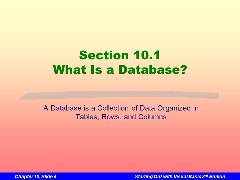 Chapter 10, Slide 4Starting Out with Visual Basic 3 rd Edition Section 10.1 What Is a Database? A Database is a Collection of Data Organized in Tables