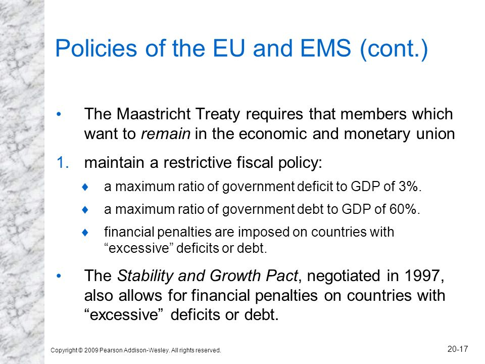 Copyright © 2009 Pearson Addison-Wesley. All rights reserved. 20-17 Policies of the EU and EMS (cont.) The Maastricht Treaty requires that members whi