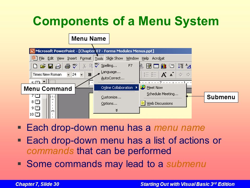 Chapter 7, Slide 30Starting Out with Visual Basic 3 rd Edition Components of a Menu System Menu Name Submenu Menu Command Each drop-down menu has a me