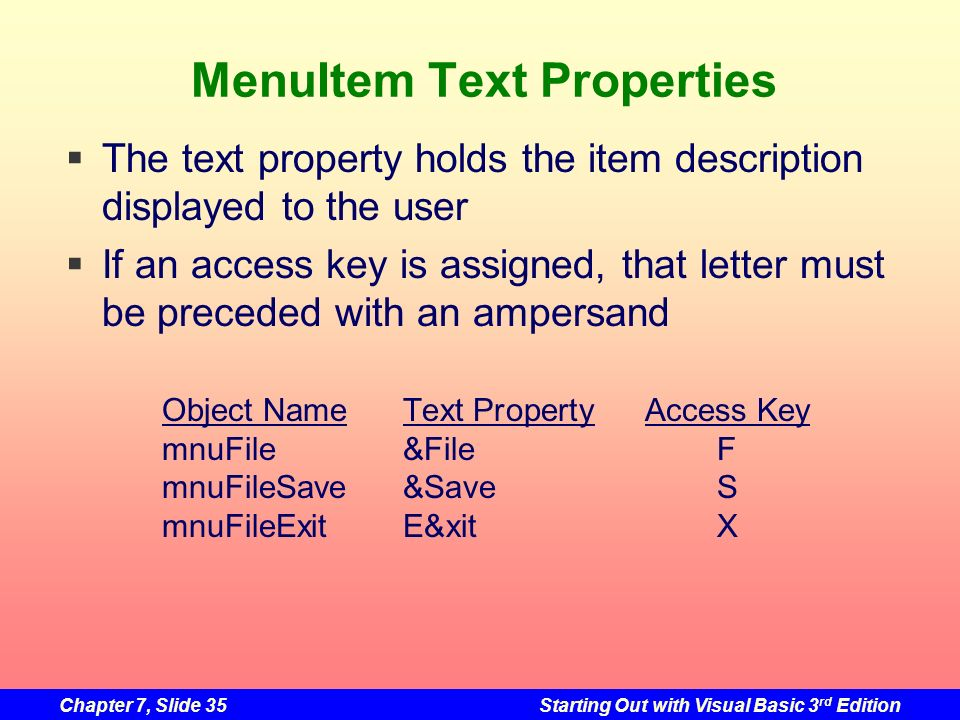 Chapter 7, Slide 35Starting Out with Visual Basic 3 rd Edition MenuItem Text Properties The text property holds the item description displayed to the
