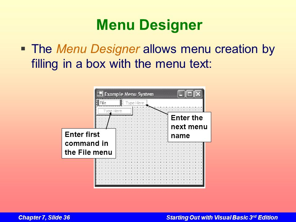 Chapter 7, Slide 36Starting Out with Visual Basic 3 rd Edition Menu Designer The Menu Designer allows menu creation by filling in a box with the menu