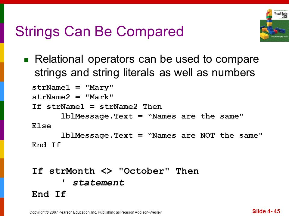 Copyright © 2007 Pearson Education, Inc. Publishing as Pearson Addison-Wesley Slide 4- 45 Strings Can Be Compared strName1 =