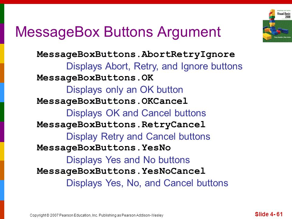 Copyright © 2007 Pearson Education, Inc. Publishing as Pearson Addison-Wesley Slide 4- 61 MessageBox Buttons Argument MessageBoxButtons.AbortRetryIgno
