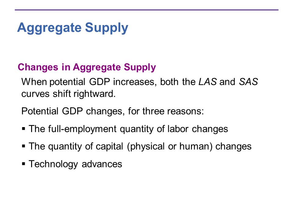 Aggregate Supply Changes in Aggregate Supply When potential GDP increases, both the LAS and SAS curves shift rightward. Potential GDP changes, for thr