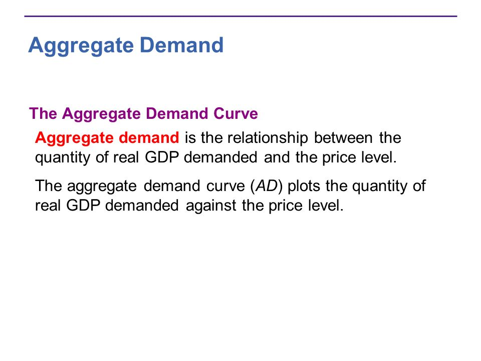 Aggregate Demand The Aggregate Demand Curve Aggregate demand is the relationship between the quantity of real GDP demanded and the price level. The ag