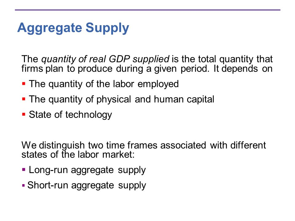 Aggregate Supply The quantity of real GDP supplied is the total quantity that firms plan to produce during a given period. It depends on The quantity