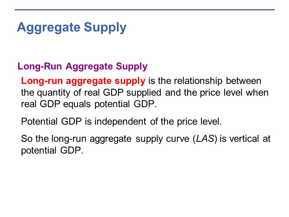 Aggregate Supply Long-Run Aggregate Supply Long-run aggregate supply is the relationship between the quantity of real GDP supplied and the price level