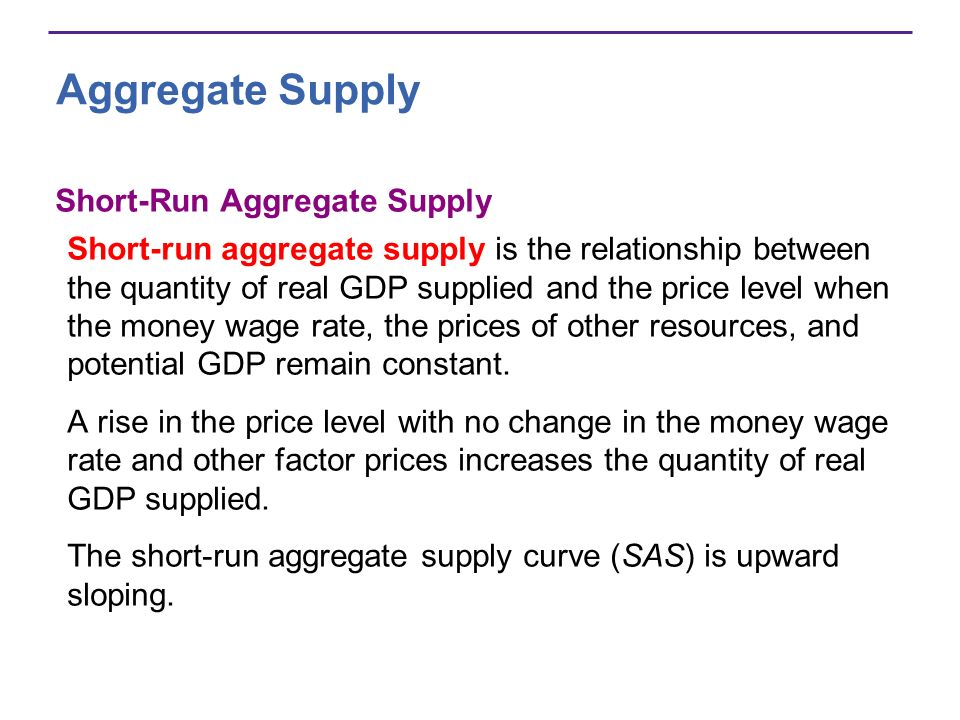 Aggregate Supply Short-Run Aggregate Supply Short-run aggregate supply is the relationship between the quantity of real GDP supplied and the price lev