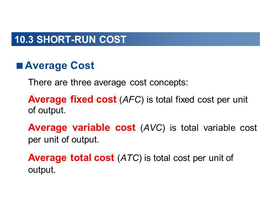 10.3 SHORT-RUN COST Average Cost There are three average cost concepts: Average fixed cost (AFC) is total fixed cost per unit of output. Average varia