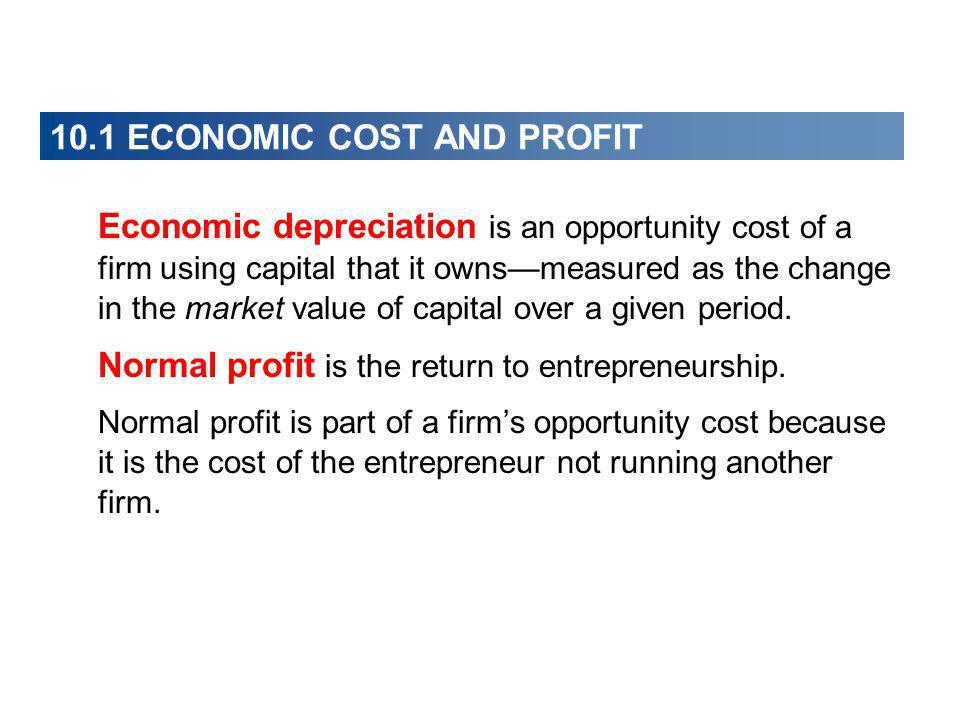 10.1 ECONOMIC COST AND PROFIT Economic Profit A firms economic profit equals total revenue minus total cost.