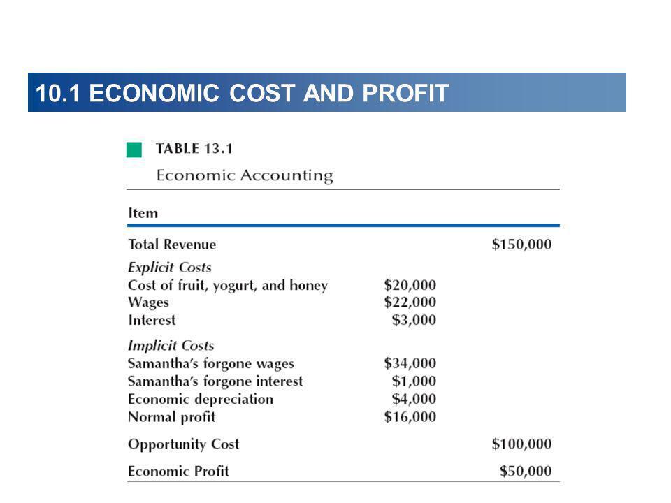 10.1 ECONOMIC COST AND PROFIT