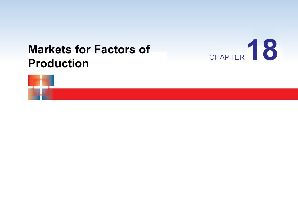 Markets for Factors of Production CHAPTER 18