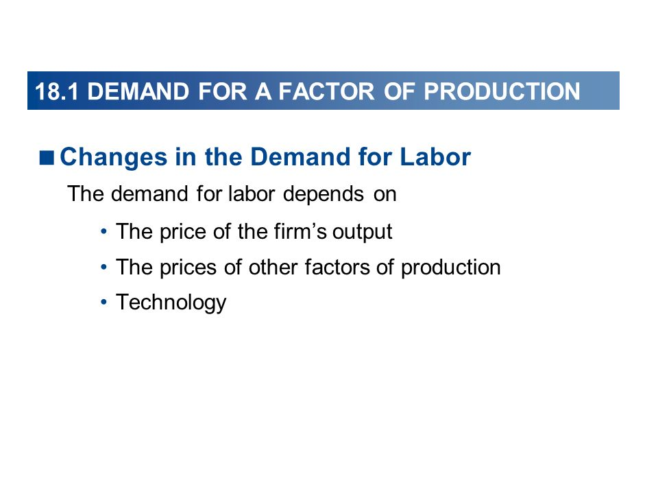 18.1 DEMAND FOR A FACTOR OF PRODUCTION Changes in the Demand for Labor The demand for labor depends on The price of the firms output The prices of oth