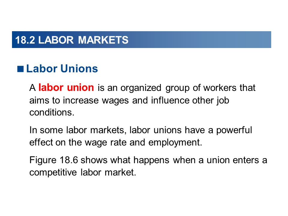 Labor Unions A labor union is an organized group of workers that aims to increase wages and influence other job conditions. In some labor markets, lab