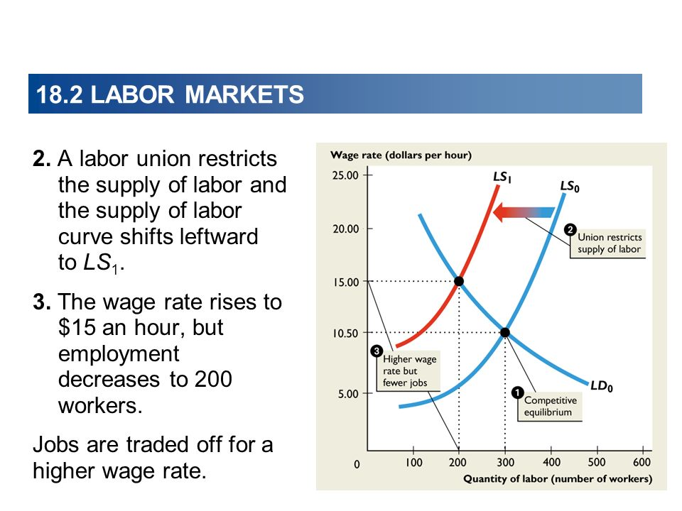 2. A labor union restricts the supply of labor and the supply of labor curve shifts leftward to LS 1. 3. The wage rate rises to $15 an hour, but emplo