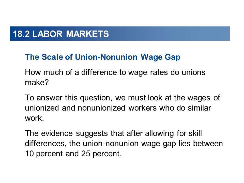 The Scale of Union-Nonunion Wage Gap How much of a difference to wage rates do unions make? To answer this question, we must look at the wages of unio