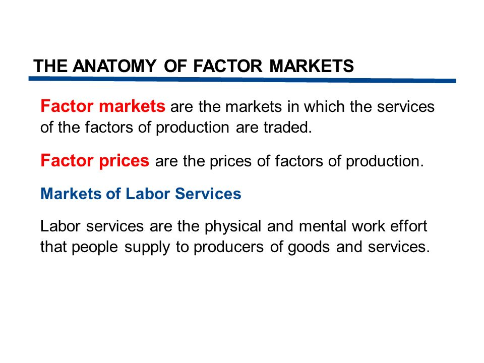 Factor markets are the markets in which the services of the factors of production are traded. Factor prices are the prices of factors of production. M