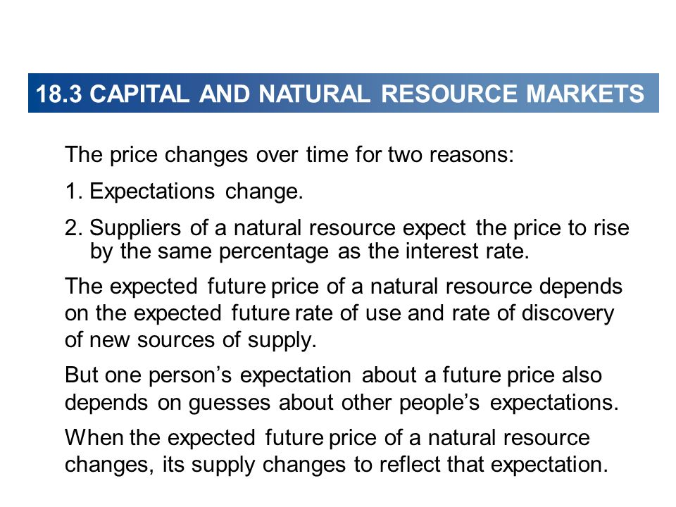 The price changes over time for two reasons: 1. Expectations change. 2. Suppliers of a natural resource expect the price to rise by the same percentag