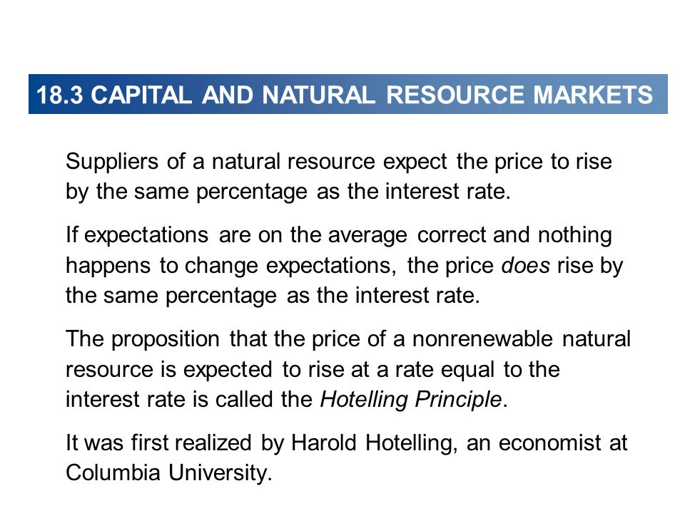 Suppliers of a natural resource expect the price to rise by the same percentage as the interest rate. If expectations are on the average correct and n