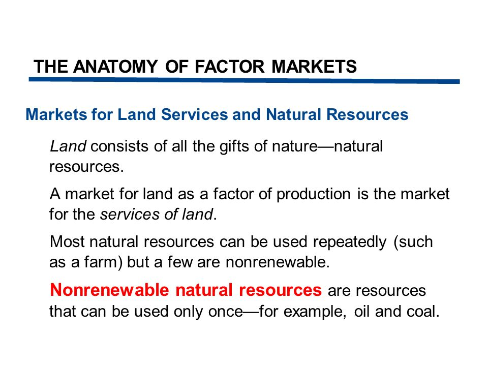 Nonrenewable Resource Markets The supply side of a nonrenewable resource natural resource market is special.