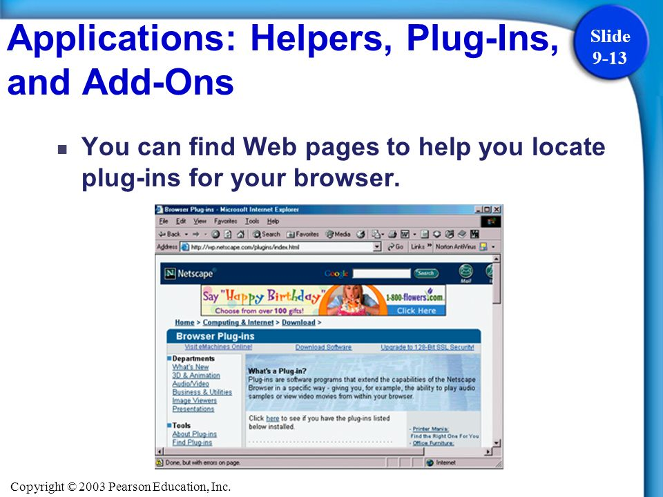 Copyright © 2003 Pearson Education, Inc. Slide 9-13 You can find Web pages to help you locate plug-ins for your browser. Applications: Helpers, Plug-I