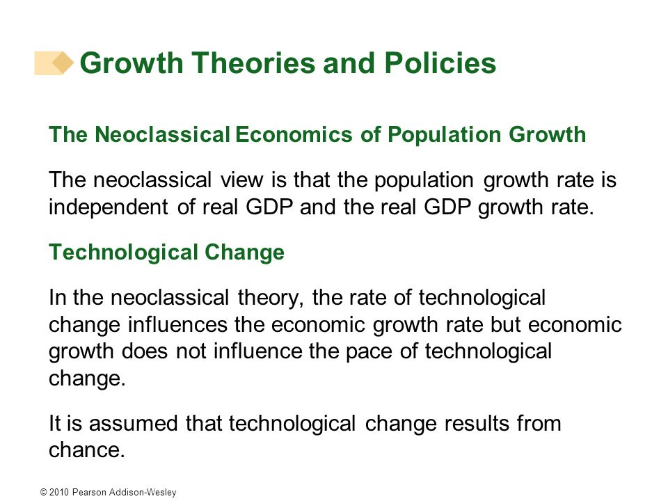 © 2010 Pearson Addison-Wesley The Neoclassical Economics of Population Growth The neoclassical view is that the population growth rate is independent