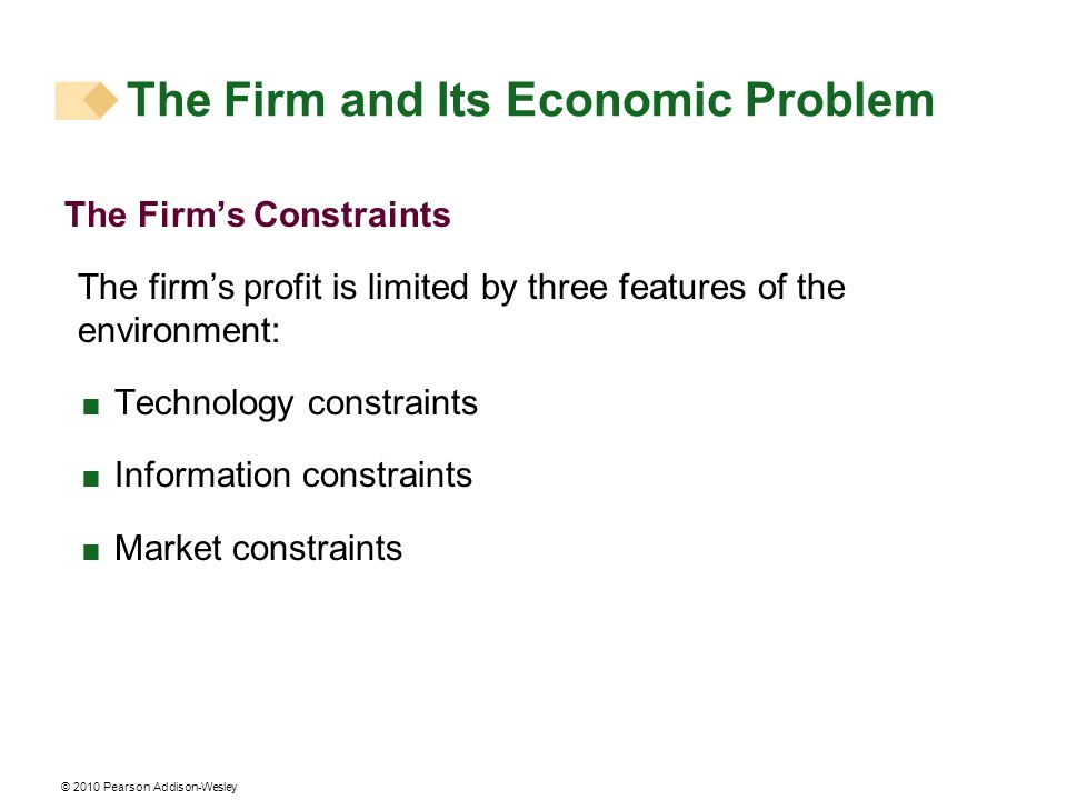 © 2010 Pearson Addison-Wesley The Firms Constraints The firms profit is limited by three features of the environment: Technology constraints Informati