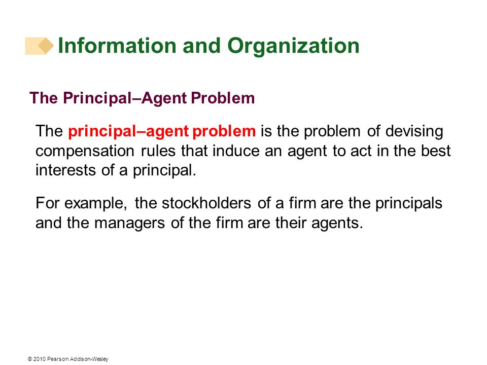 © 2010 Pearson Addison-Wesley The Principal–Agent Problem The principal–agent problem is the problem of devising compensation rules that induce an age