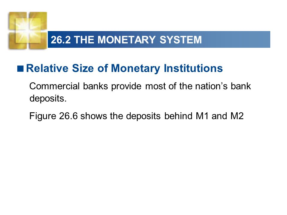 26.2 THE MONETARY SYSTEM Relative Size of Monetary Institutions Commercial banks provide most of the nations bank deposits. Figure 26.6 shows the depo