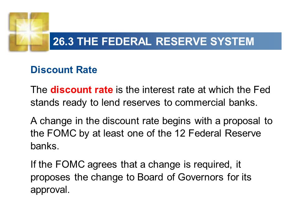 26.3 THE FEDERAL RESERVE SYSTEM Discount Rate The discount rate is the interest rate at which the Fed stands ready to lend reserves to commercial bank