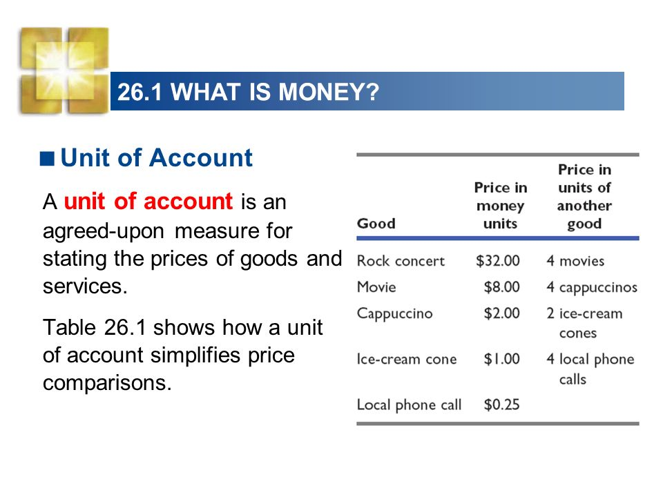 26.1 WHAT IS MONEY? Unit of Account A unit of account is an agreed-upon measure for stating the prices of goods and services. Table 26.1 shows how a u