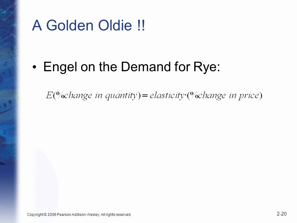 Copyright © 2006 Pearson Addison-Wesley. All rights reserved. 2-20 A Golden Oldie !! Engel on the Demand for Rye: