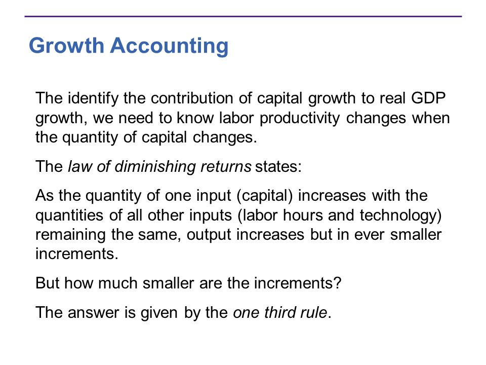 Growth Accounting The identify the contribution of capital growth to real GDP growth, we need to know labor productivity changes when the quantity of