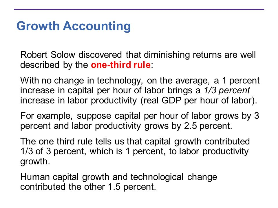Growth Accounting Robert Solow discovered that diminishing returns are well described by the one-third rule: With no change in technology, on the aver