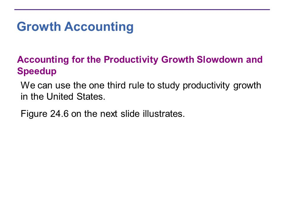 Growth Accounting Accounting for the Productivity Growth Slowdown and Speedup We can use the one third rule to study productivity growth in the United