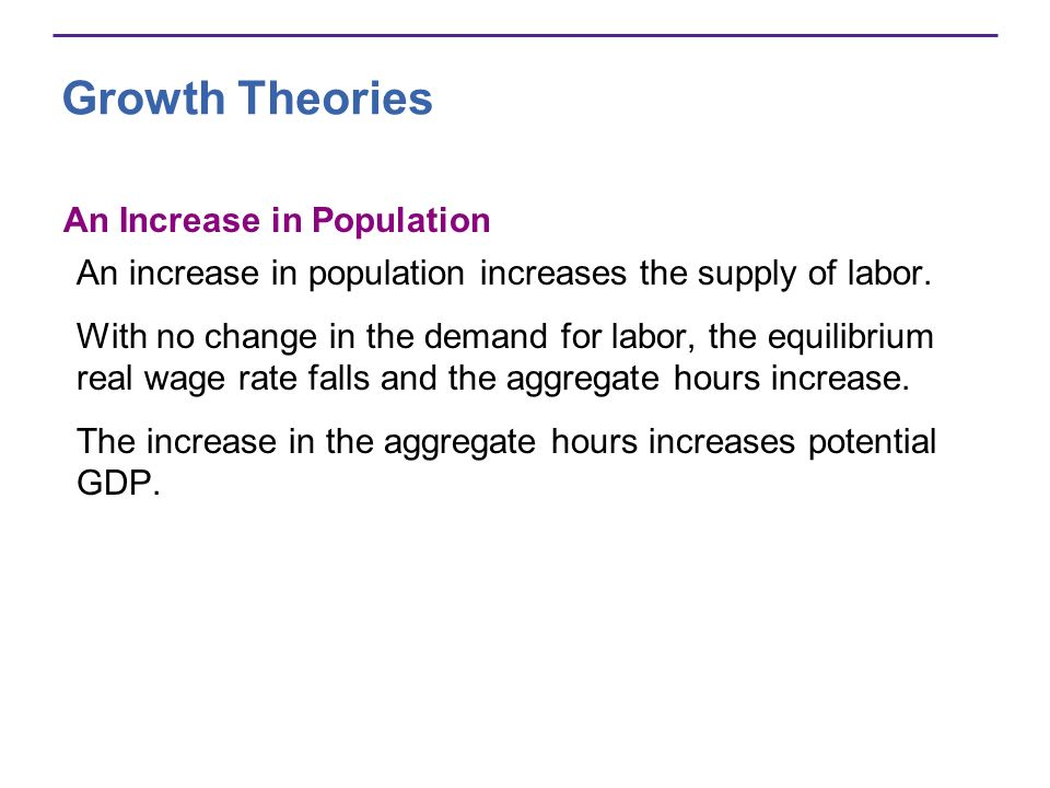 Growth Theories An Increase in Population An increase in population increases the supply of labor. With no change in the demand for labor, the equilib