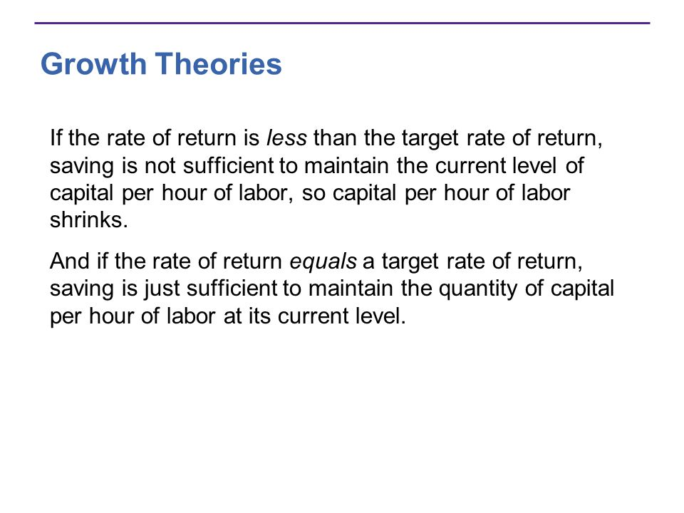 Growth Theories If the rate of return is less than the target rate of return, saving is not sufficient to maintain the current level of capital per ho
