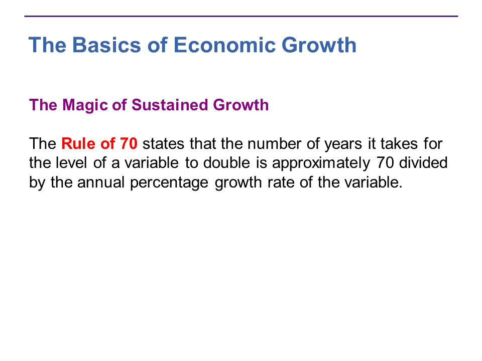 The Basics of Economic Growth The Magic of Sustained Growth The Rule of 70 states that the number of years it takes for the level of a variable to dou