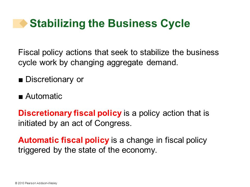 © 2010 Pearson Addison-Wesley Stabilizing the Business Cycle Fiscal policy actions that seek to stabilize the business cycle work by changing aggregat