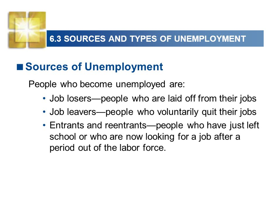 6.3 SOURCES AND TYPES OF UNEMPLOYMENT Sources of Unemployment People who become unemployed are: Job loserspeople who are laid off from their jobs Job leaverspeople who voluntarily quit their jobs Entrants and reentrantspeople who have just left school or who are now looking for a job after a period out of the labor force.