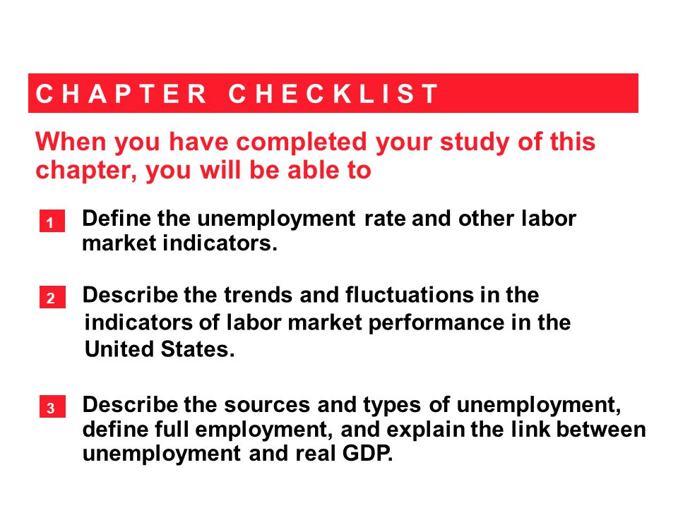 When you have completed your study of this chapter, you will be able to C H A P T E R C H E C K L I S T Define the unemployment rate and other labor market indicators.