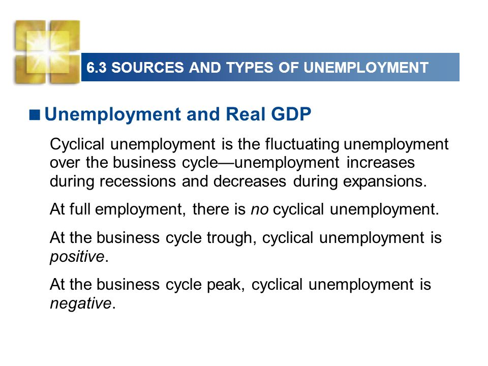 6.3 SOURCES AND TYPES OF UNEMPLOYMENT Unemployment and Real GDP Cyclical unemployment is the fluctuating unemployment over the business cycleunemployment increases during recessions and decreases during expansions.