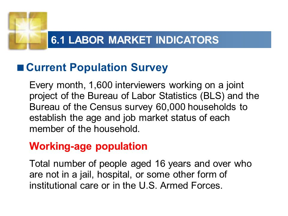 6.1 LABOR MARKET INDICATORS Current Population Survey Every month, 1,600 interviewers working on a joint project of the Bureau of Labor Statistics (BLS) and the Bureau of the Census survey 60,000 households to establish the age and job market status of each member of the household.
