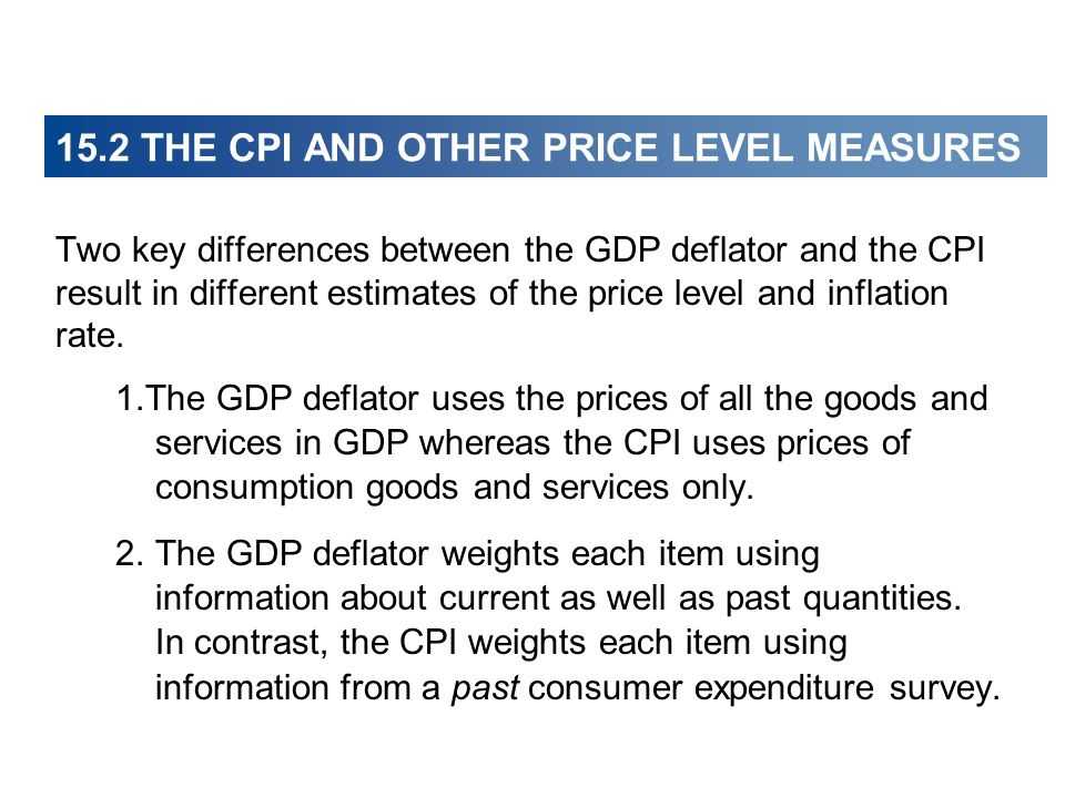 Two key differences between the GDP deflator and the CPI result in different estimates of the price level and inflation rate. 1.The GDP deflator uses