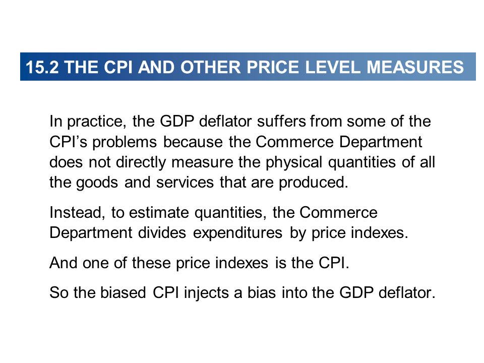 In practice, the GDP deflator suffers from some of the CPIs problems because the Commerce Department does not directly measure the physical quantities