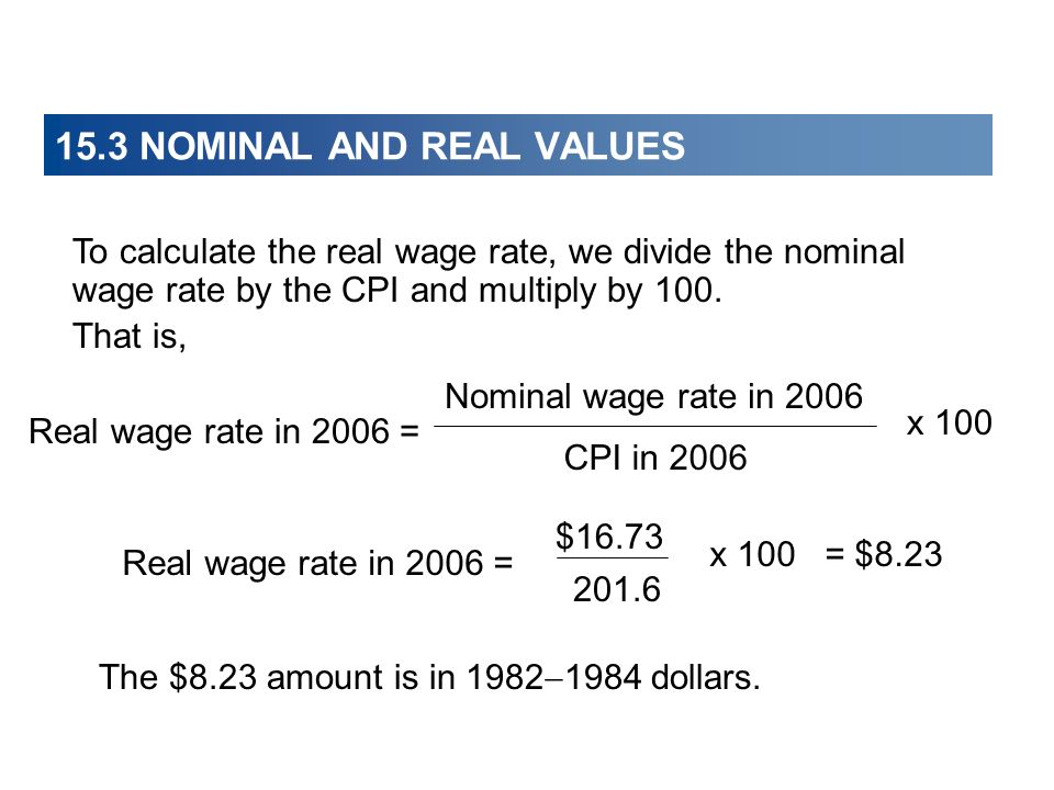 15.3 NOMINAL AND REAL VALUES Real wage rate in 2006 = = $8.23 $16.73 201.6 x 100 To calculate the real wage rate, we divide the nominal wage rate by t