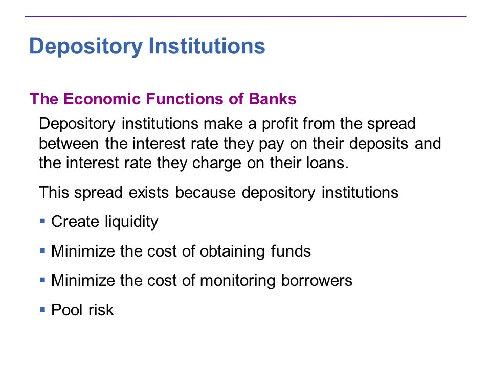 Depository Institutions Financial Innovation The aim of financial innovationthe development of new financial products is to lower the cost of deposits or to increase the return from lending.