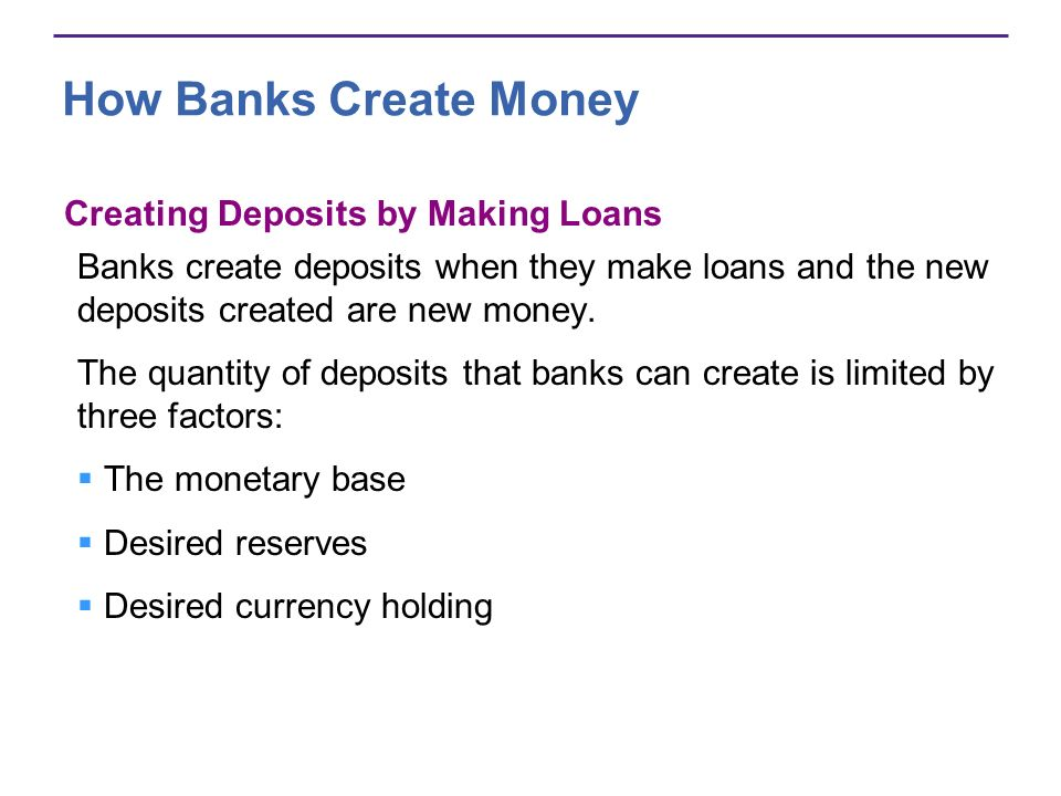 How Banks Create Money The Monetary Base The monetary base is the sum of Federal Reserve notes, coins, and banks deposits at the Fed.