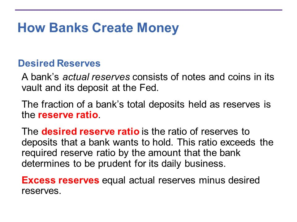 How Banks Create Money Desired Currency Holding We hold money in the form of currency and bank deposits.